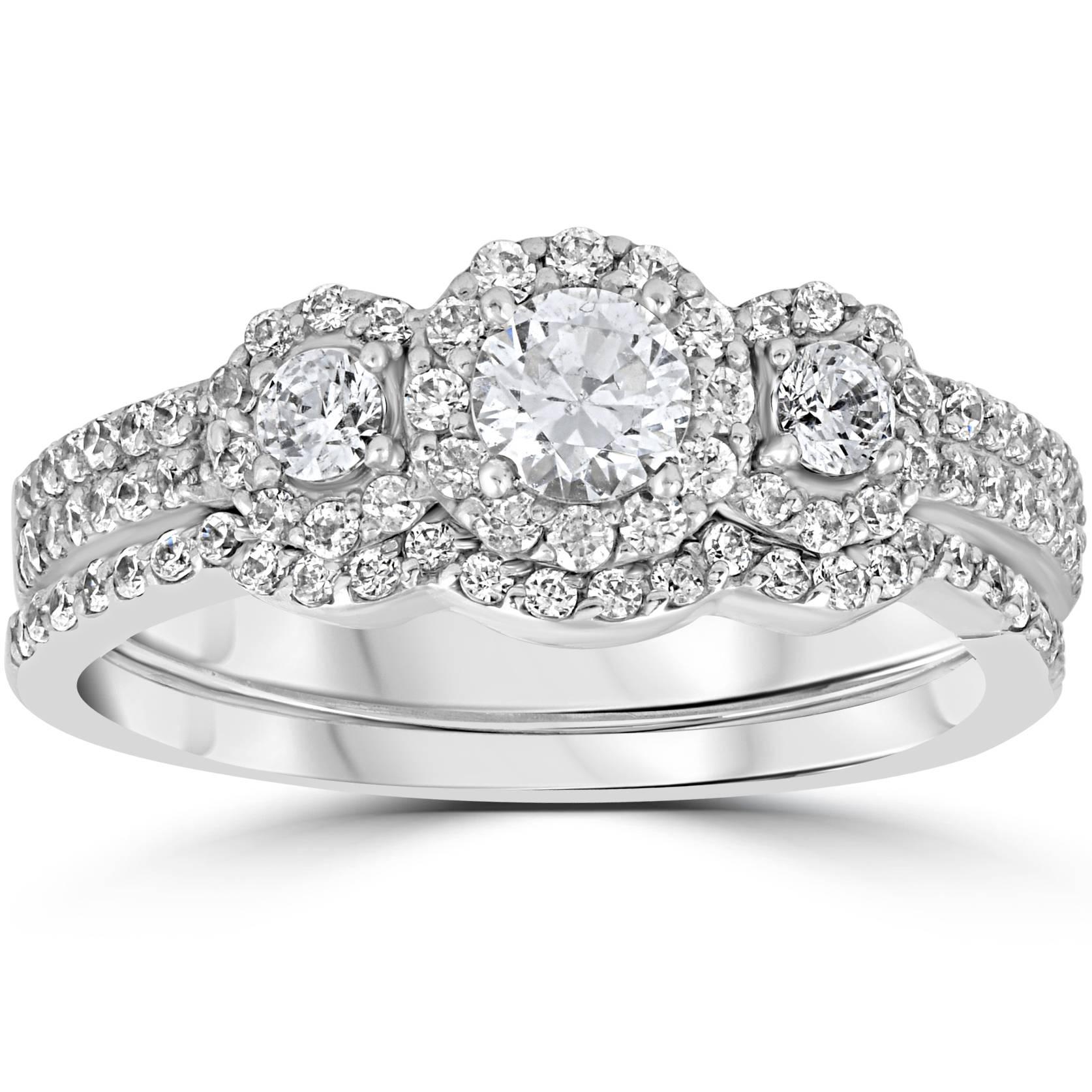 3 stone diamond engagement wedding ring set 10k. Black Bedroom Furniture Sets. Home Design Ideas