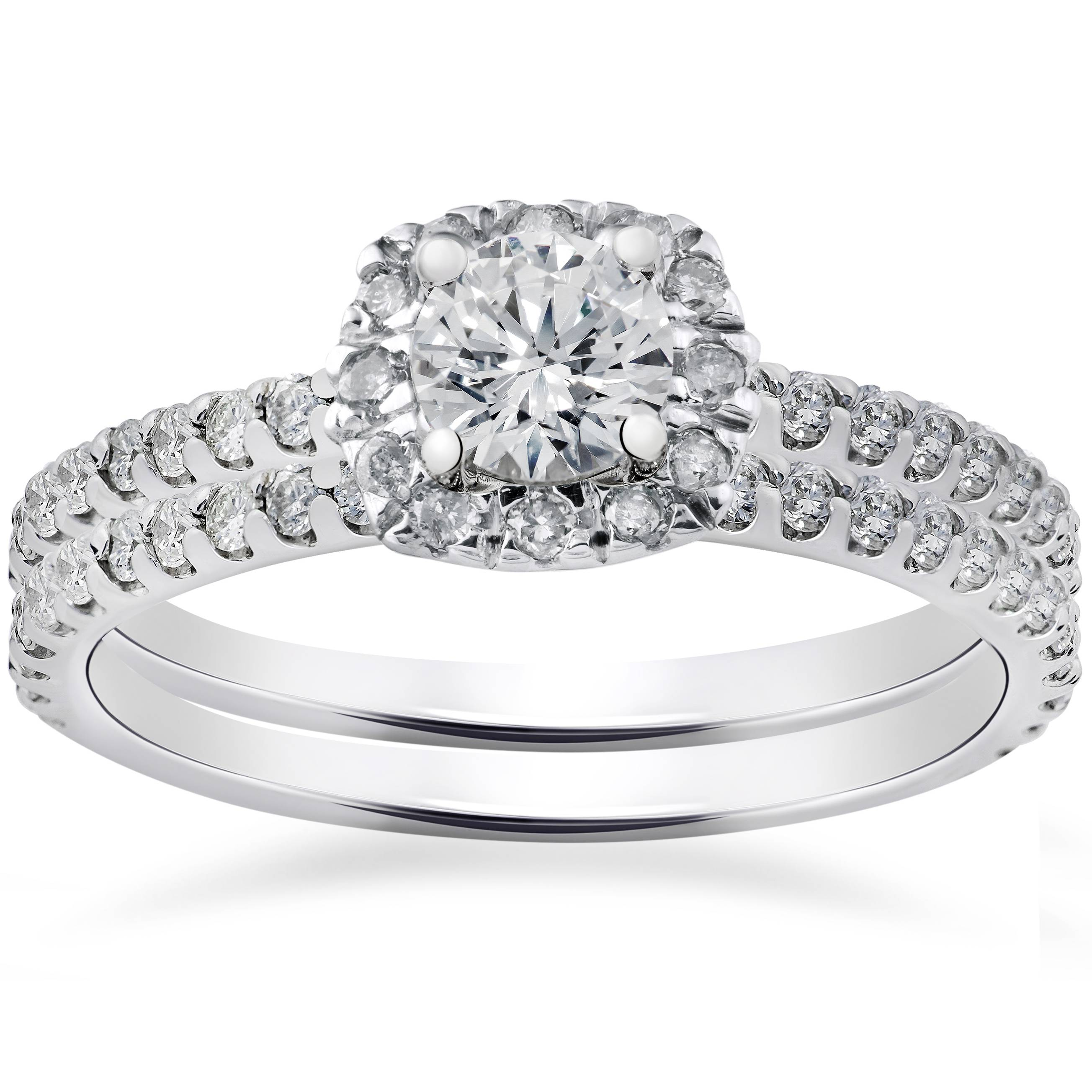 1ct cushion halo lab created diamond engagement wedding for Lab created diamond wedding rings