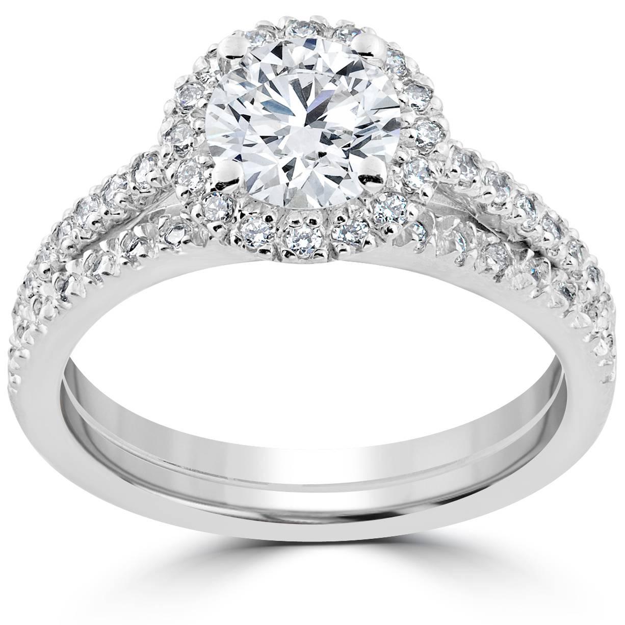 1 1 2 ct Diamond Halo Engagement Wedding Ring Set 14k White Gold Enhanced