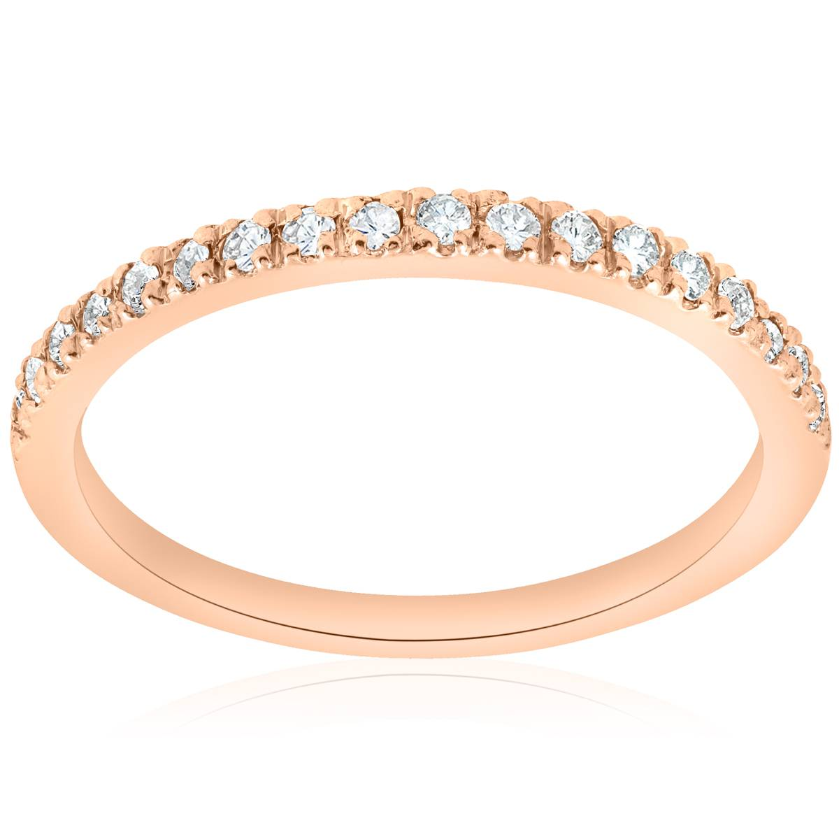 1/4ct Diamond Ring 14K Rose Gold Womens Diamond Wedding ...