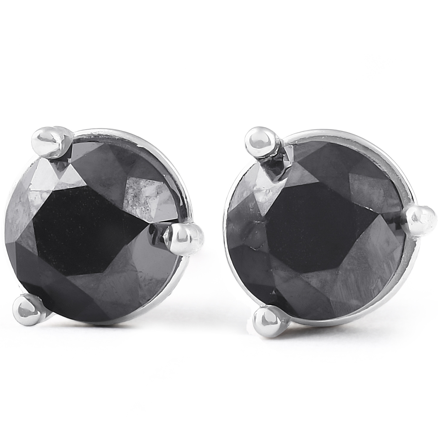 290f3f285 Details about 2 Ct Black Diamond Martini 3-Prong Studs 14k White Gold  Earrings