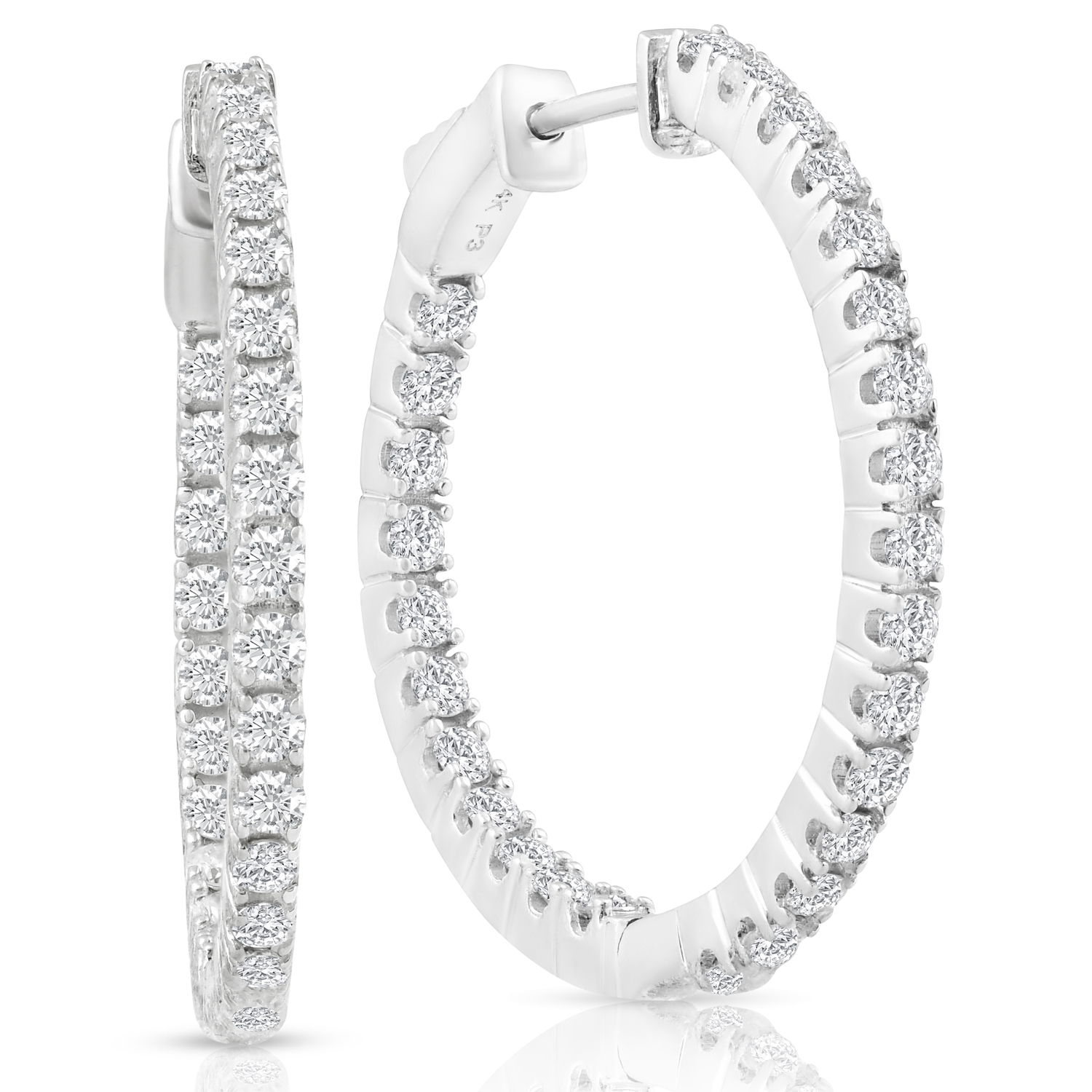 "E VS 1 50 ct Diamond Inside Outside Hoops With Vault Lock 1"" Tall"