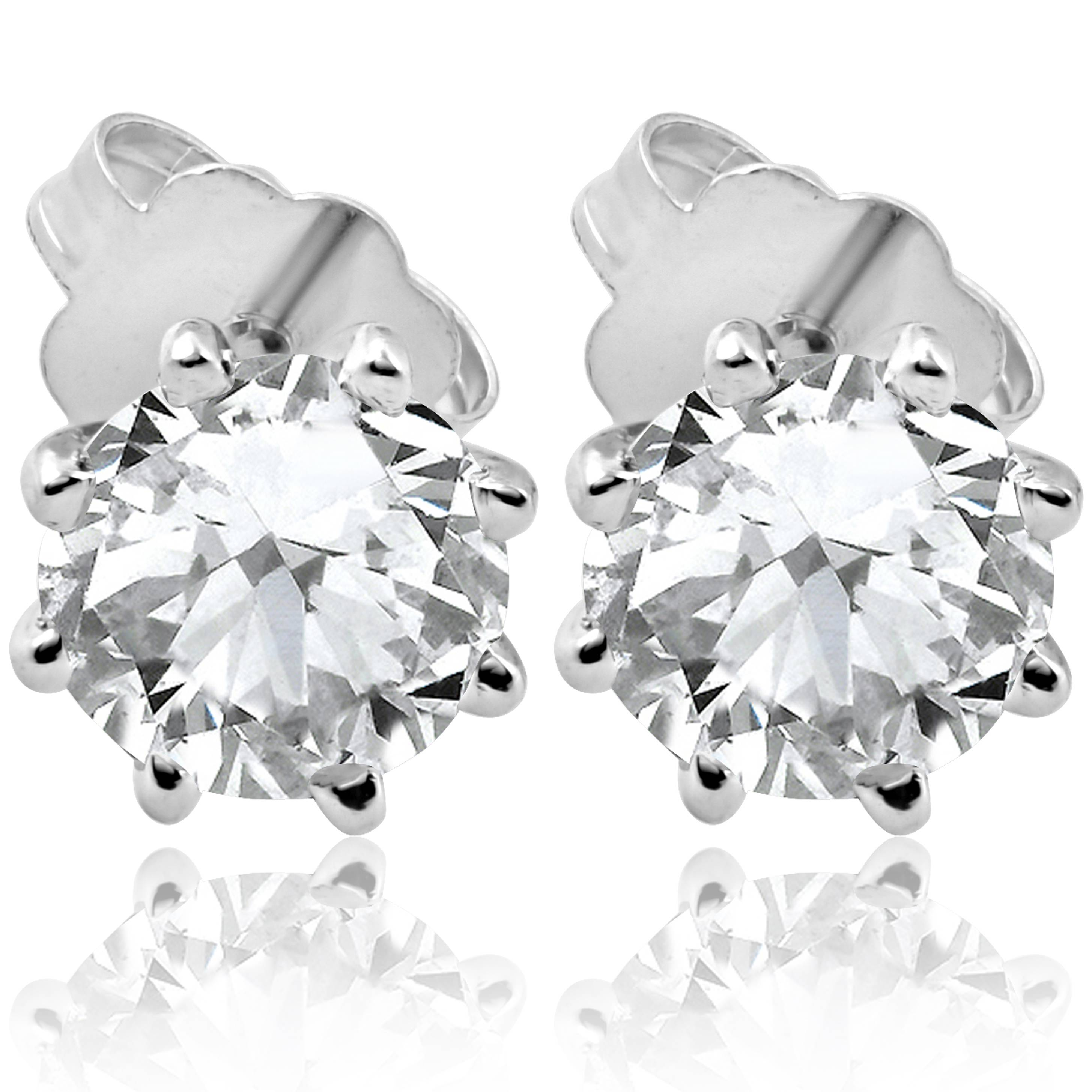 2be0b930e Details about F/SI 1.25 ct Solitaire Diamond Stud 8 Prong Earrings 14K  White Gold Enhanced