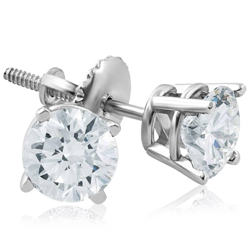 E SI(2)-I(1) 1ct Diamond Screw Back Round Studs 14k White Gold Clarity Enhanced