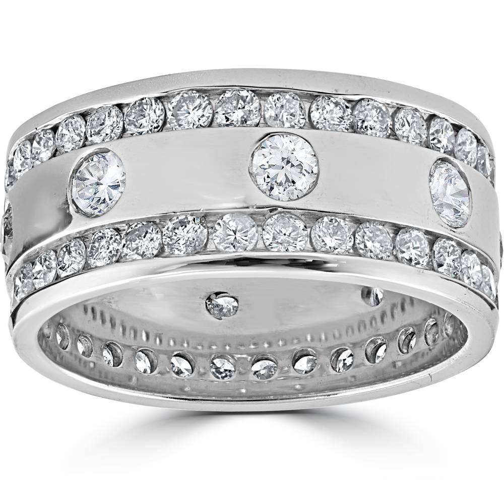 3 1 3ct diamond eternity 10mm comfort fit wedding mens for Mens eternity wedding band