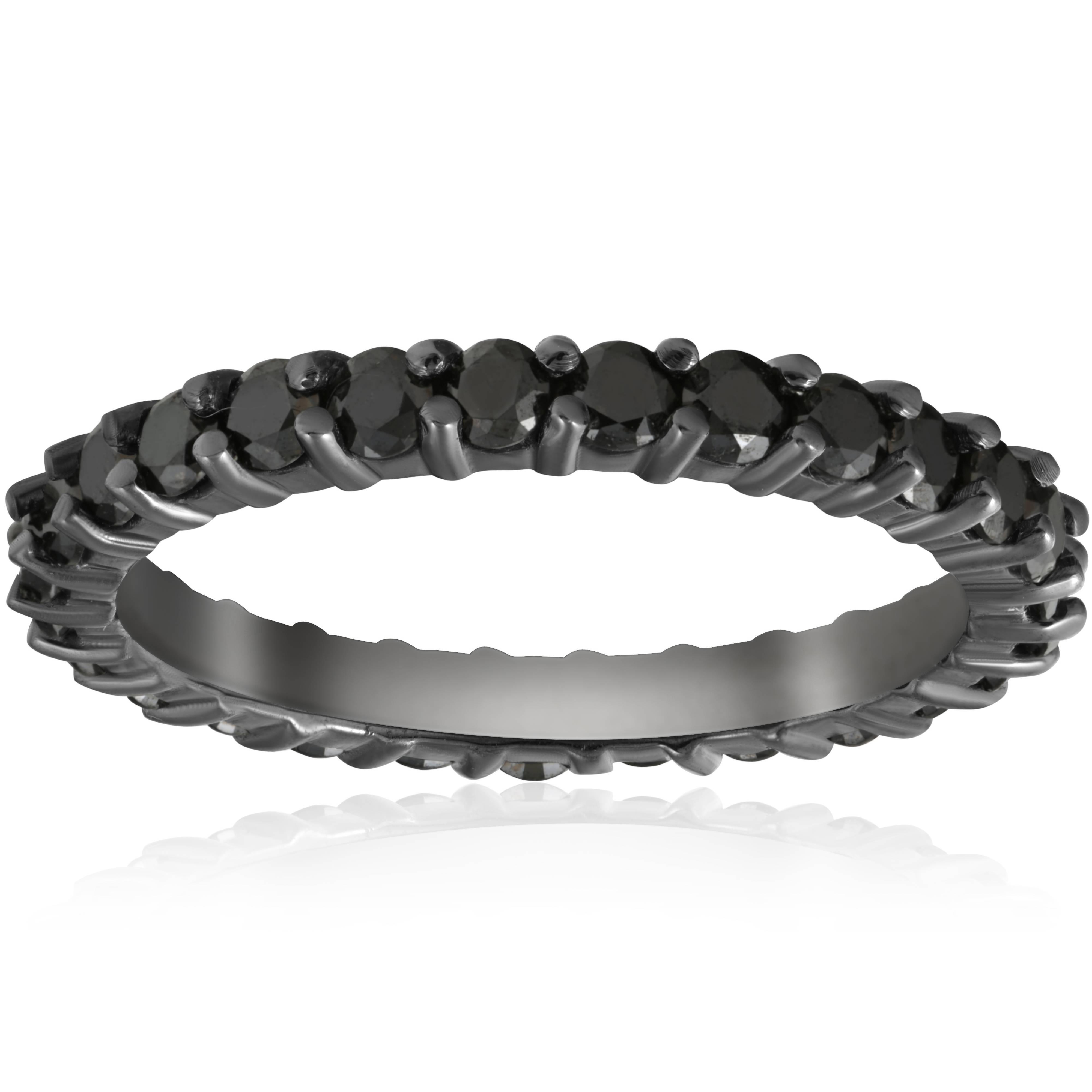 1 1 2ct Treated Black Diamond Eternity Ring 14K Black Gold
