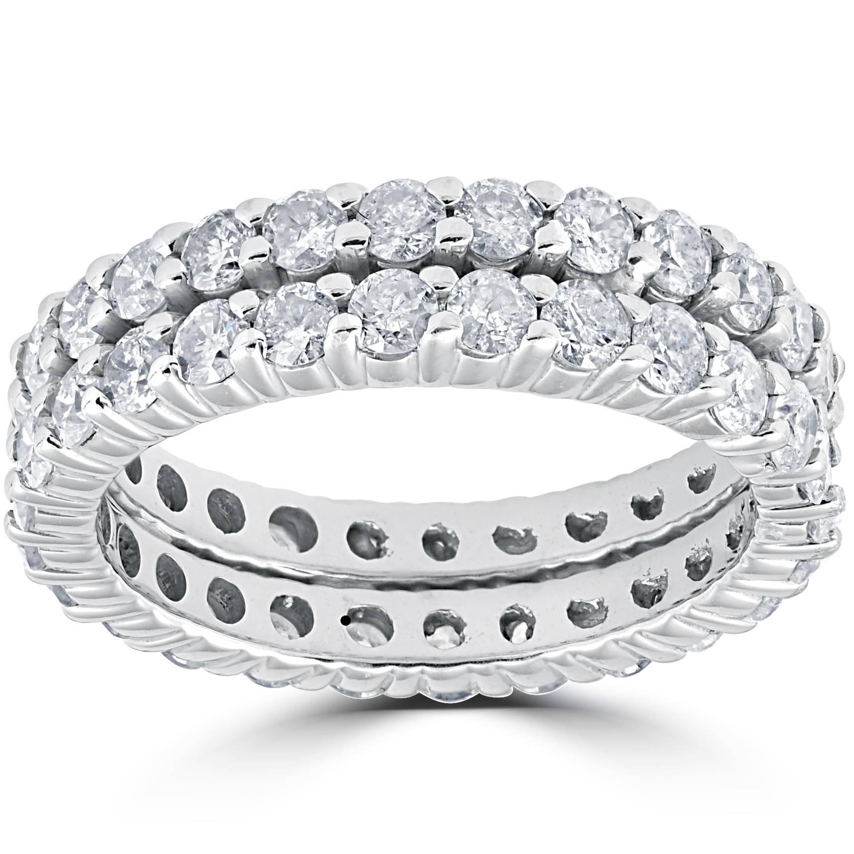3ct Diamond Eternity Double Row Womens Wedding Ring 14k