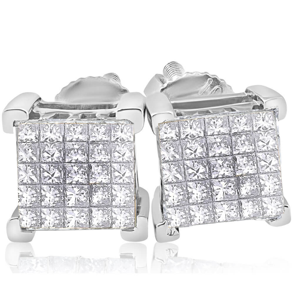 31a752d26 Details about 1 Ct Diamond Princess Cut Screw Back Studs Womens Earrings  10k White Gold