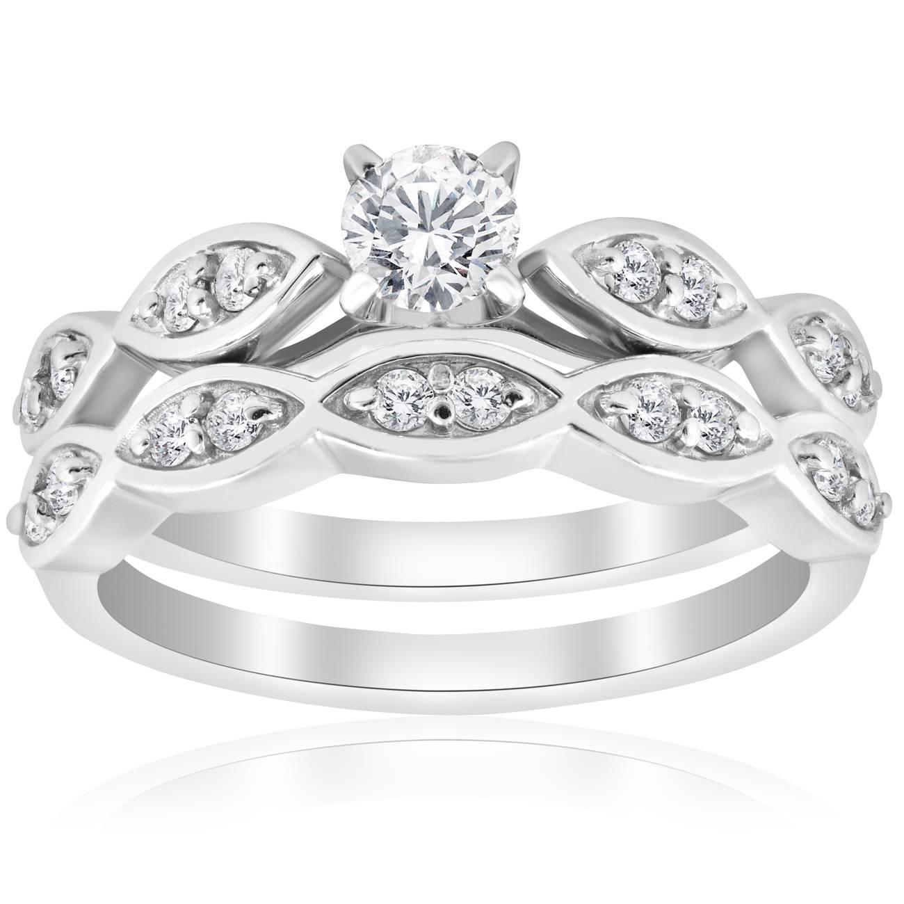 3 4ct Vintage Diamond Engagement Ring Matching Wedding Band Set 14K White Gold