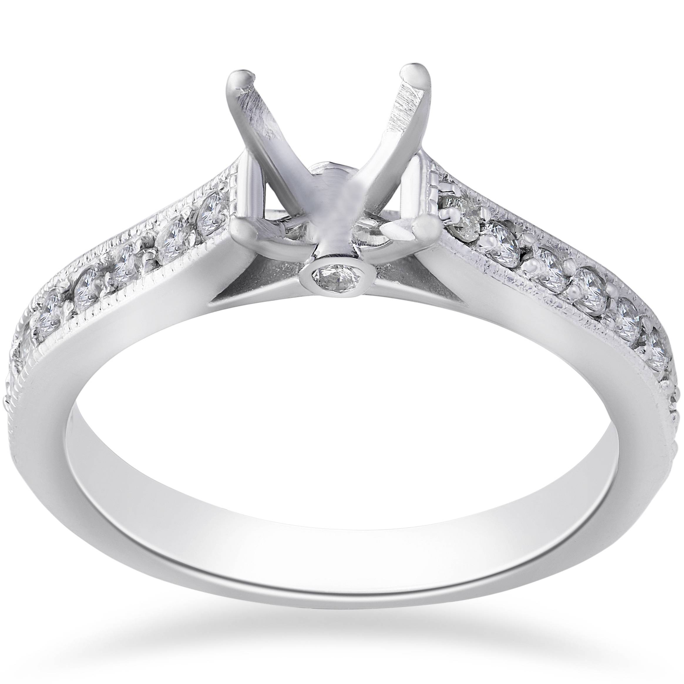 1 3ct Diamond Engagement Semi Mount Ring 14K White Gold Setting