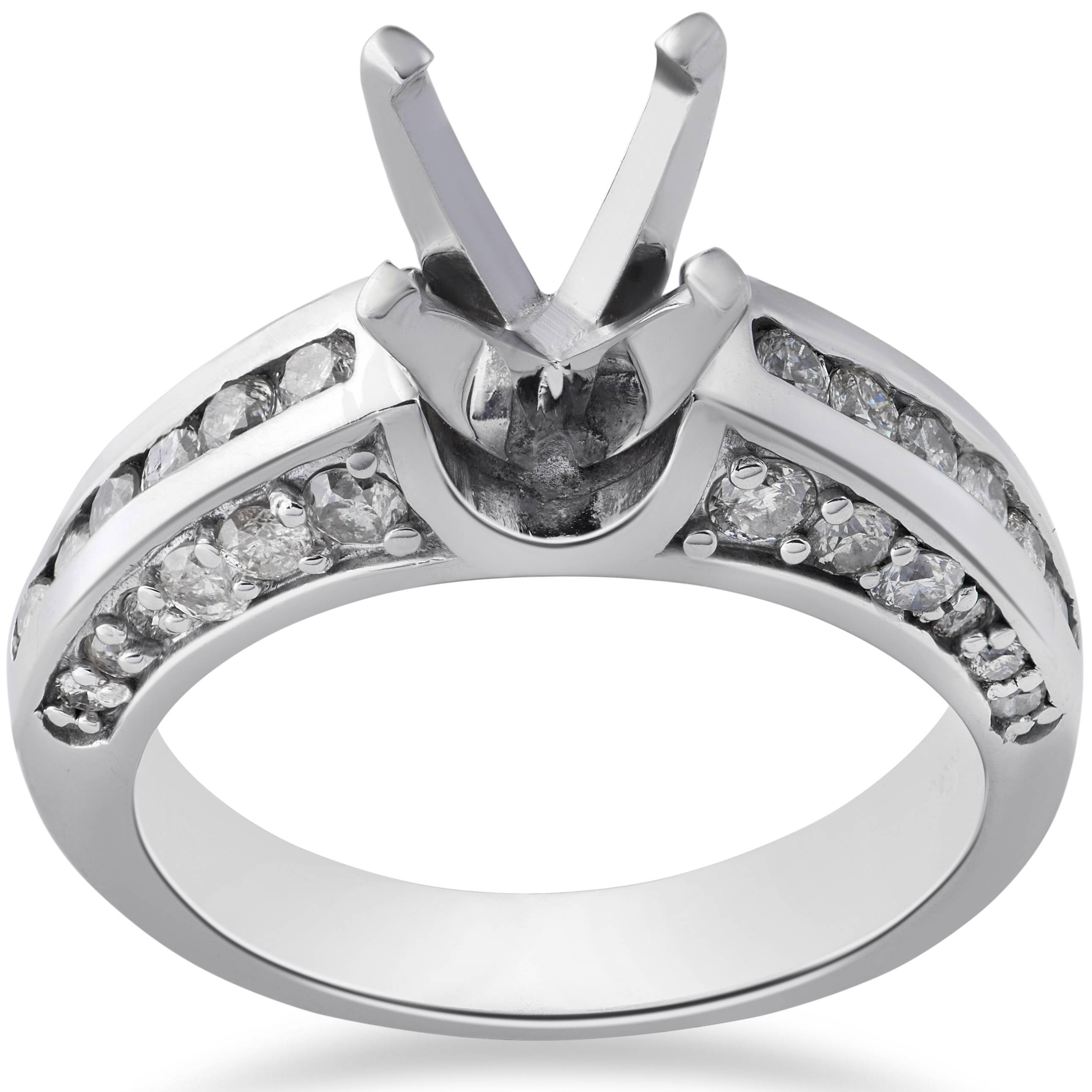 diamond engagement ring setting 1 carat 14k white gold. Black Bedroom Furniture Sets. Home Design Ideas
