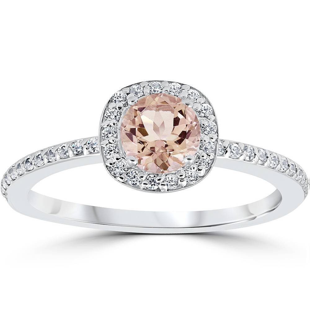 Halo Anniversary Bands: 7/8ct Morganite & Diamond Cushion Halo Anniversary Ring