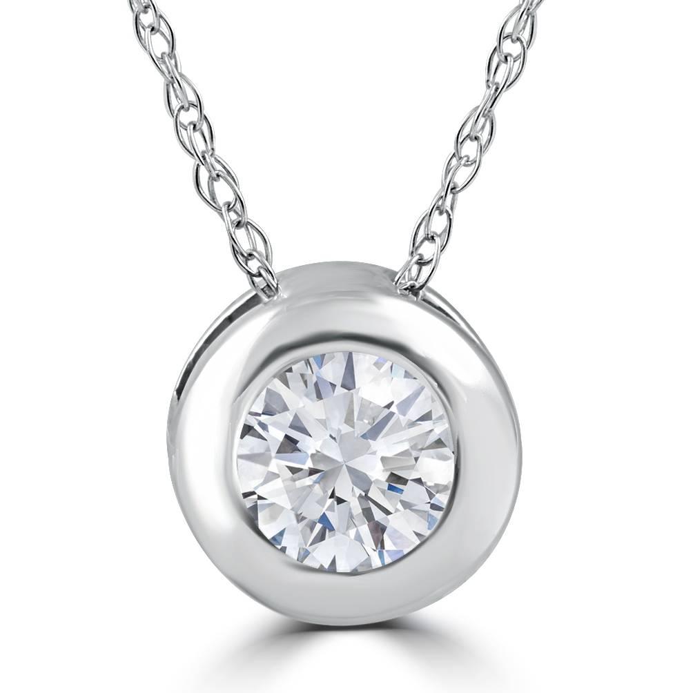 1 3ct round bezel solitaire diamond pendant 14k white gold. Black Bedroom Furniture Sets. Home Design Ideas
