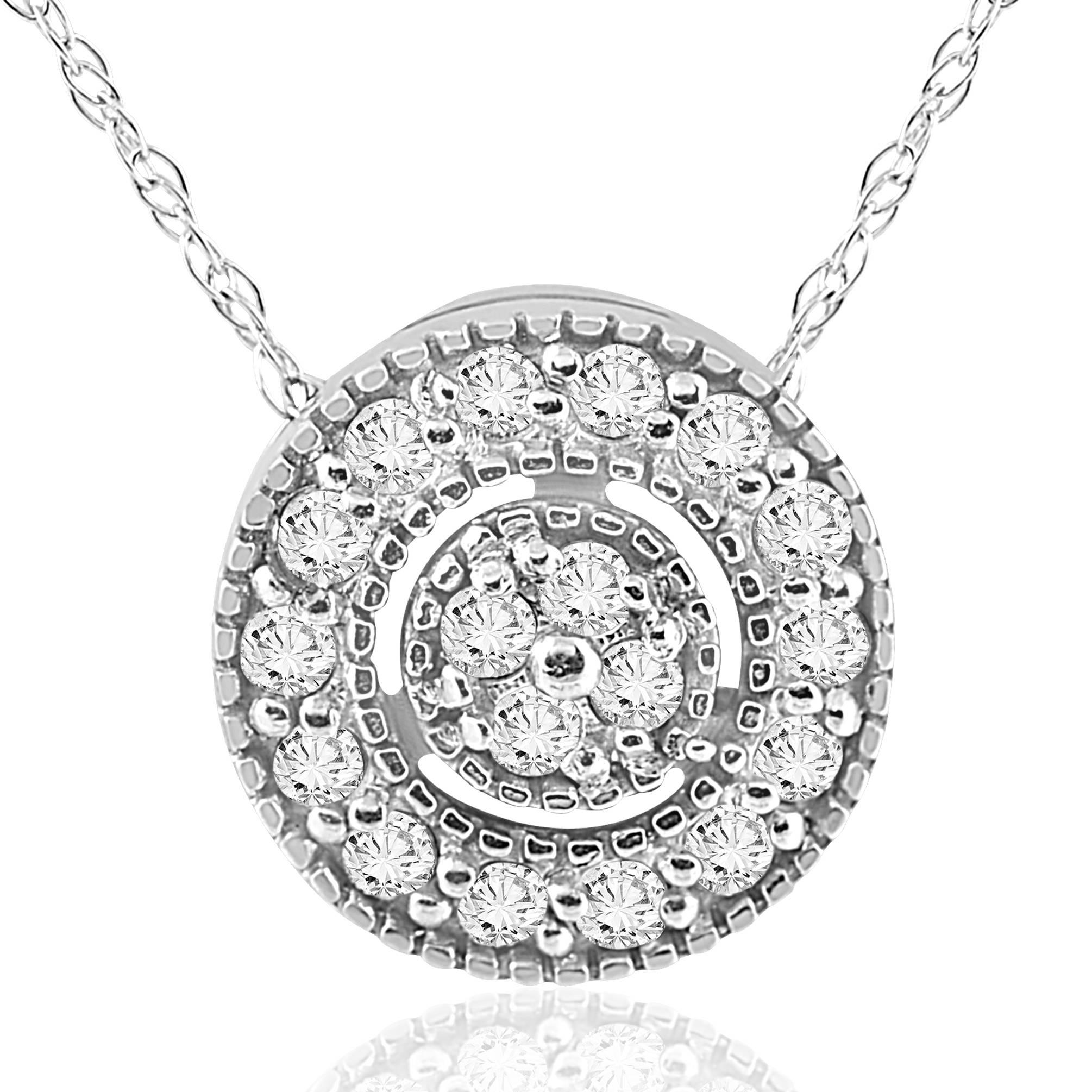 1 4 ct Diamond Pave Halo Pendant 14K White Gold Womens Necklace