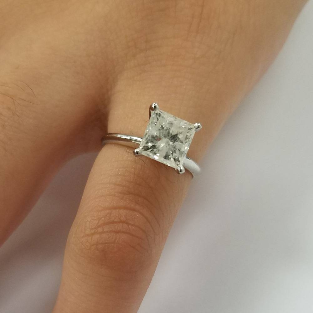 2 ct princess cut huge diamond solitaire engagement ring. Black Bedroom Furniture Sets. Home Design Ideas