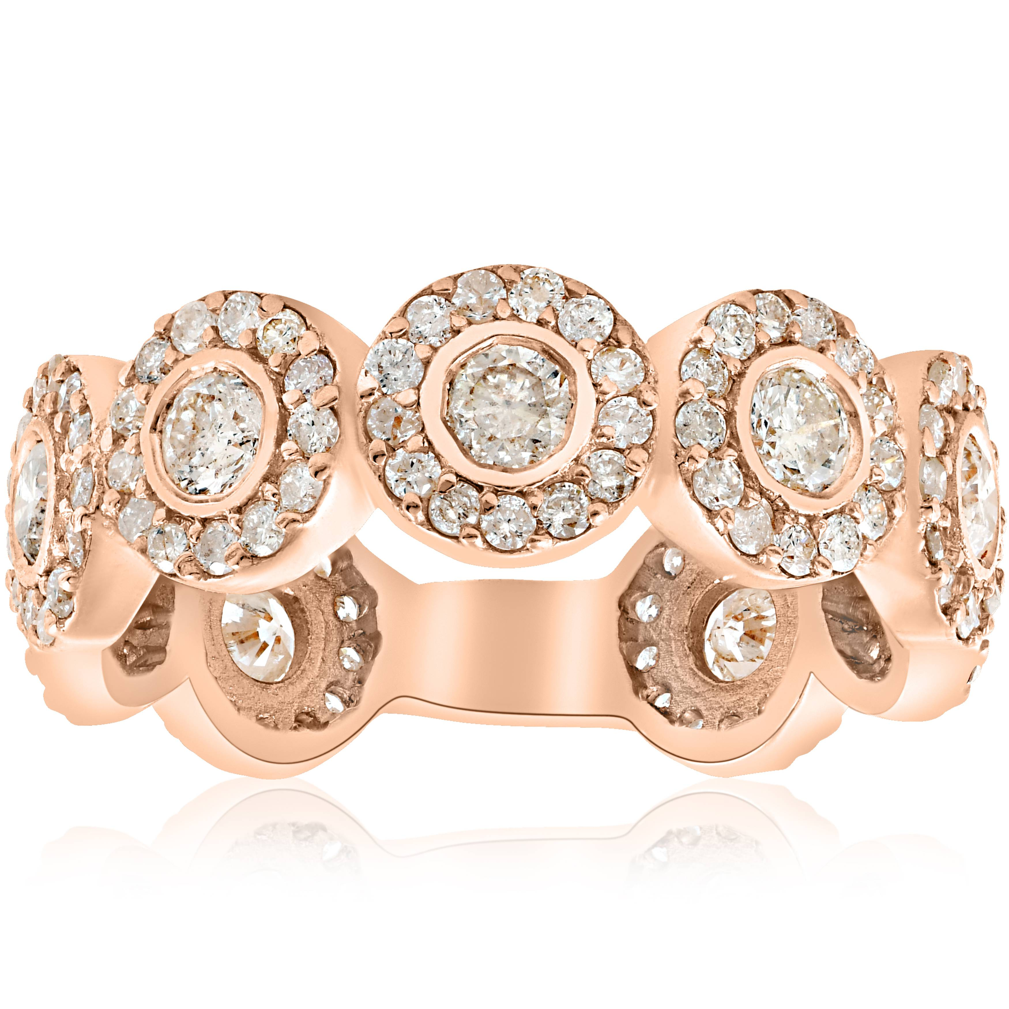 Halo rose gold diamond engagement ring bezel - 2 1 3ct Round Diamond Engagement Ring Bezel Halo 14k Rose Gold Eternity Ring