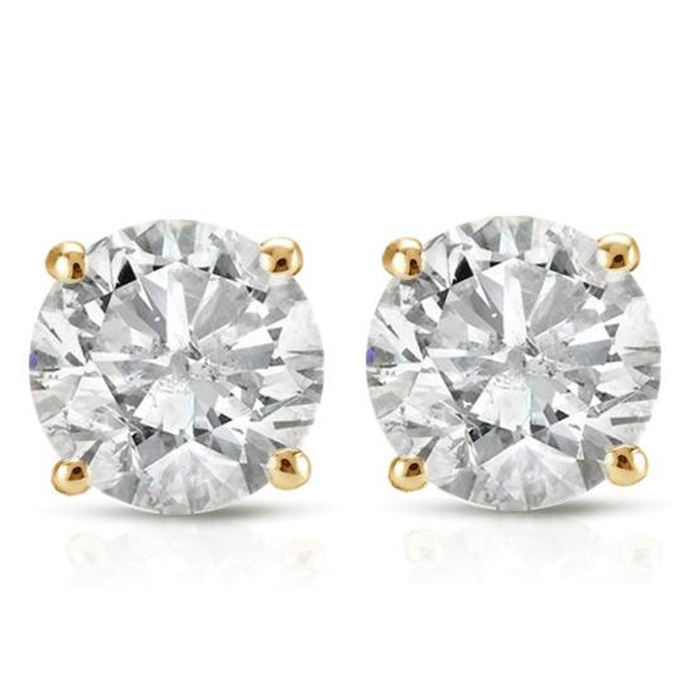 1Ct Round Brilliant Cut Diamond Stud Earrings 14K Solid Yellow Gold Finish