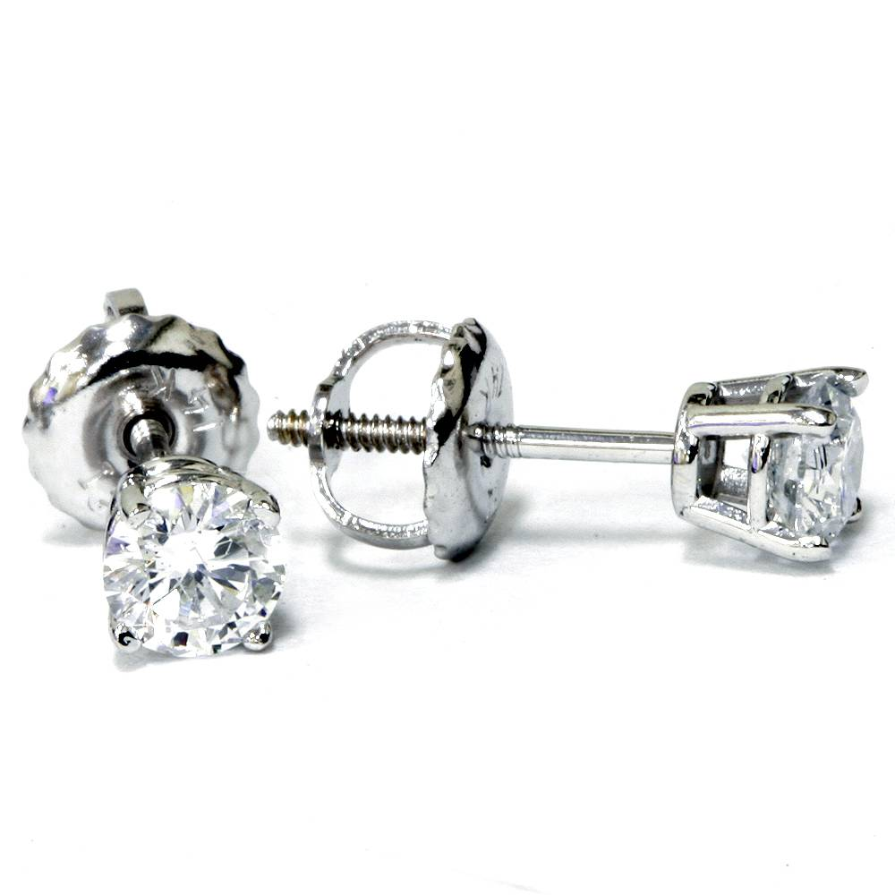 1/2ct Diamond Studs Screw Back14K White Gold