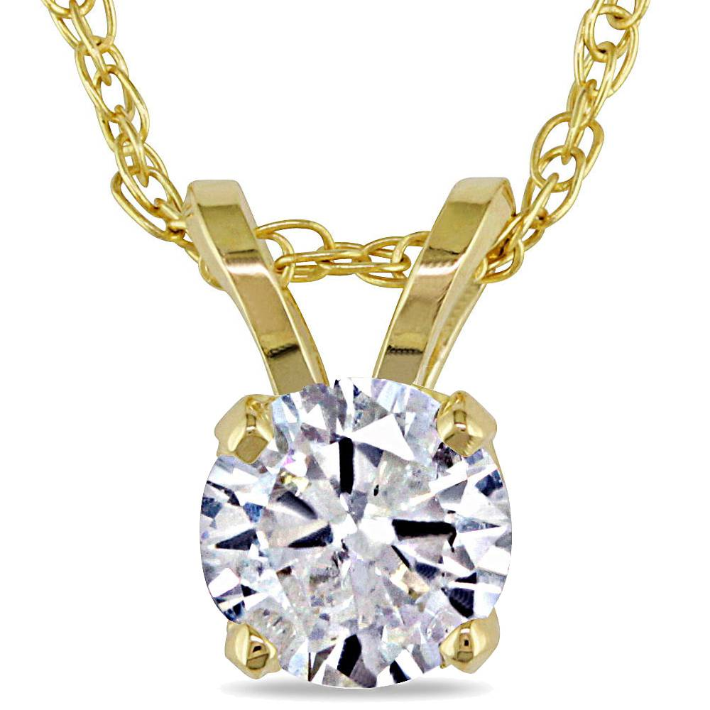 1 2ct yellow gold round diamond solitaire pendant 14k ebay. Black Bedroom Furniture Sets. Home Design Ideas
