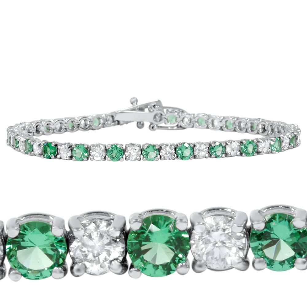 3ct Emerald Amp Diamond Genuine Tennis Bracelet 14k White