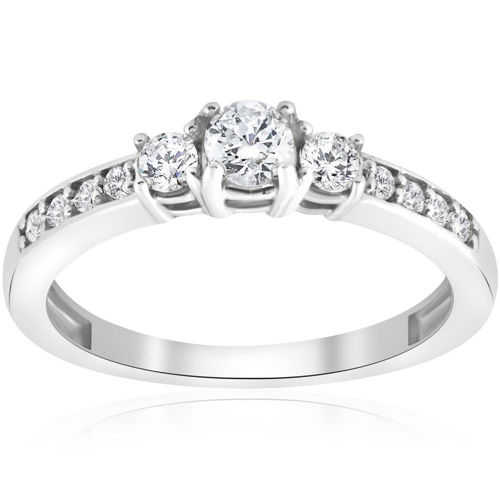 Stone Wedding Rings: 3/4ct Three Stone Round Diamond Engagement Ring 14K White Gold