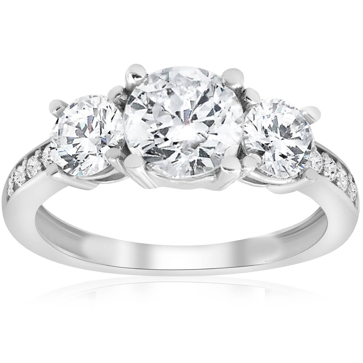 Stone Wedding Rings: 1 1/2ct 3-Stone Diamond Engagement Ring White Gold Round