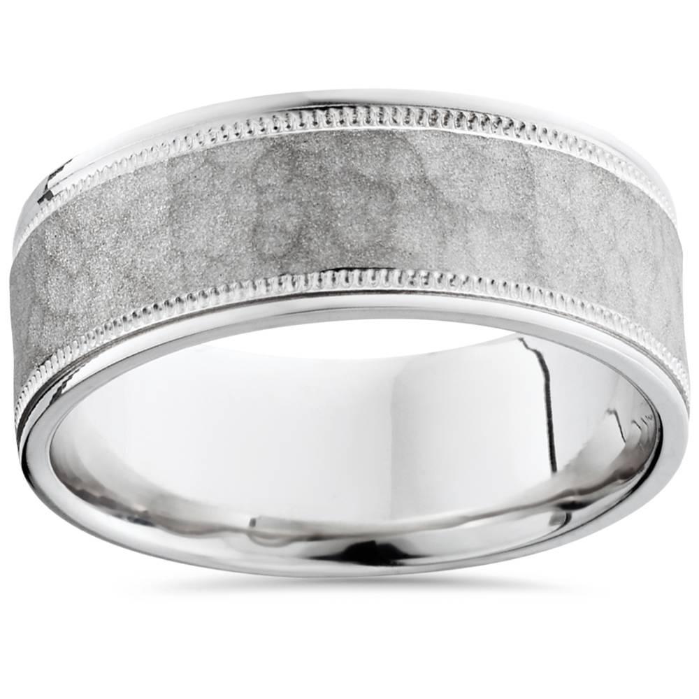 Milgrain Wedding Ring In Platinum 7mm: Hammered Milgrain Wedding Band 950 Platinum Mens 8mm
