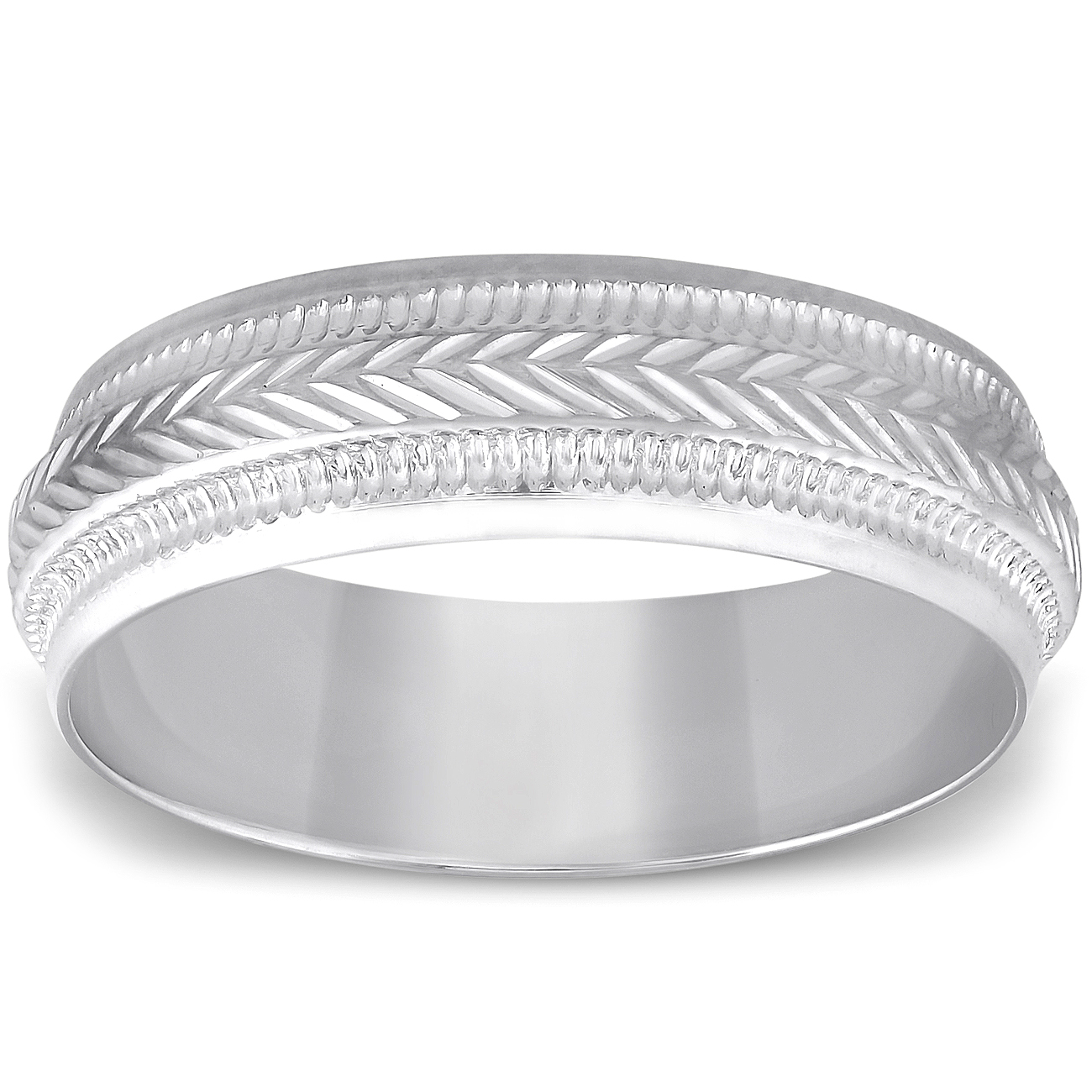 6mm Mens 10k White Gold Brushed Hand Carved Pattern Wedding Band Ebay