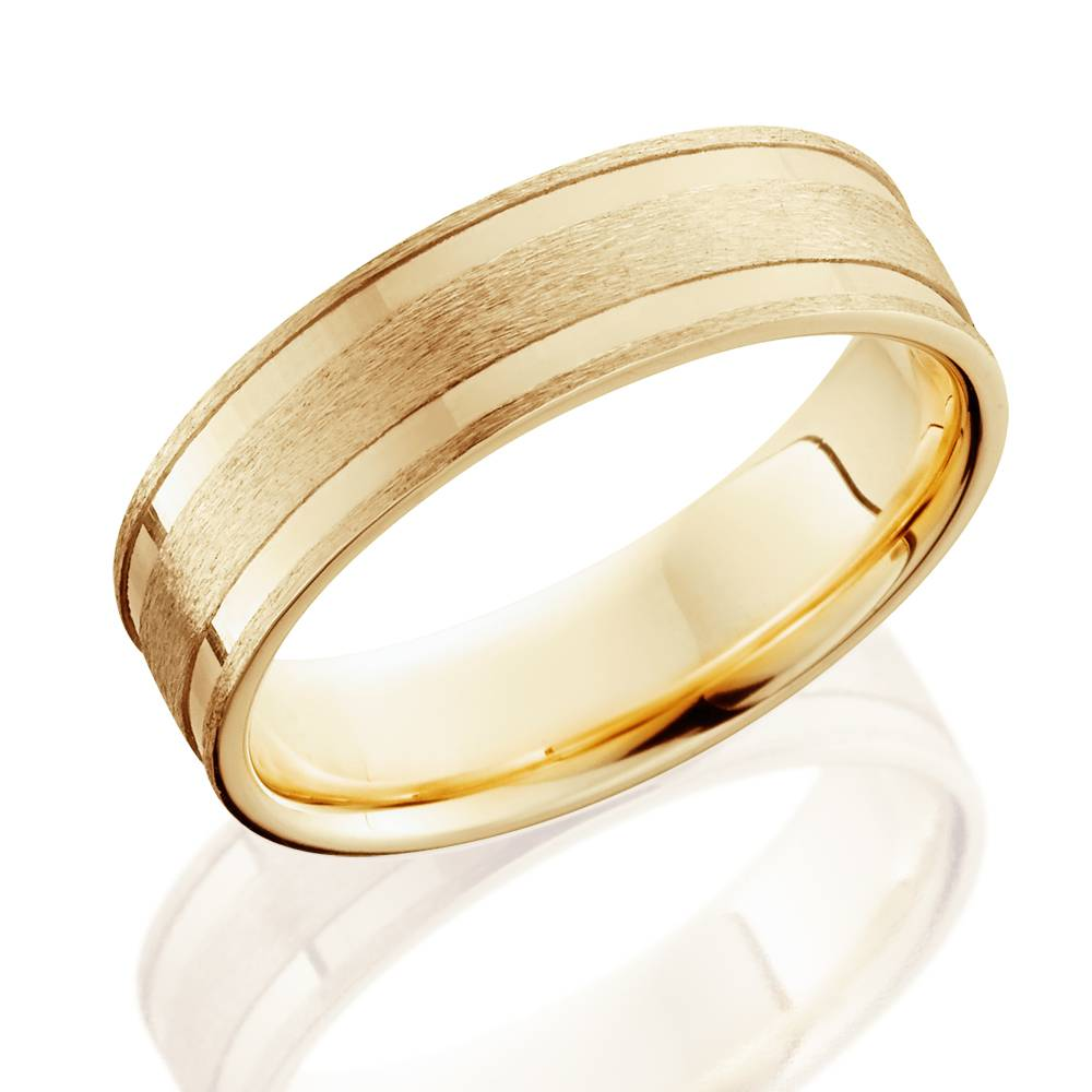14k Yellow Gold High Polished 2mm Traditional Milgrain: 6mm 14K Yellow Gold Brushed Double Inlay Wedding Band
