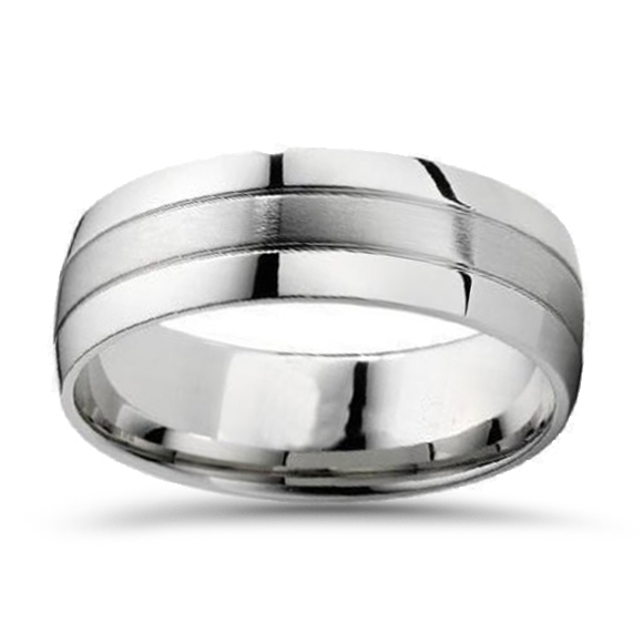 14k Yellow Gold High Polished 2mm Traditional Milgrain: 8mm Brushed Mens Wedding Band 10K White Gold