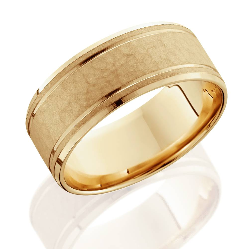 14k Yellow Gold High Polished 2mm Traditional Milgrain: 8mm Hammered Mens Wedding Band 14K Yellow Gold