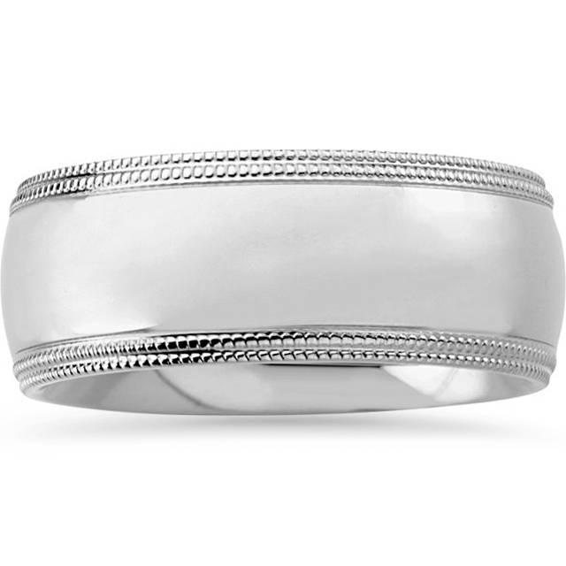 Td123886w 14k White Gold 6mm Double Milgrain Comfort Fit: Men's 8mm Double Milgrain Wedding Band Ring Solid 14K