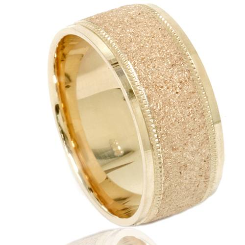 14k Yellow Gold High Polished 2mm Traditional Milgrain: Mens Brushed Wedding Band Solid 10K Yellow Gold Ring 8mm