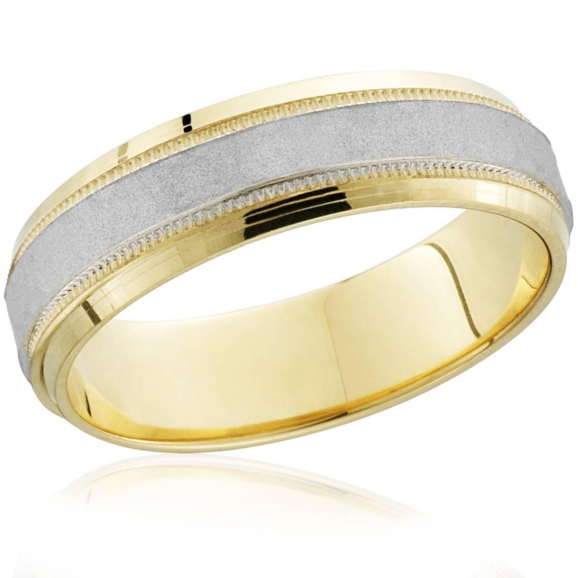 18k Gold & Platinum Brushed Two Tone Wedding Band Ring - Tanga