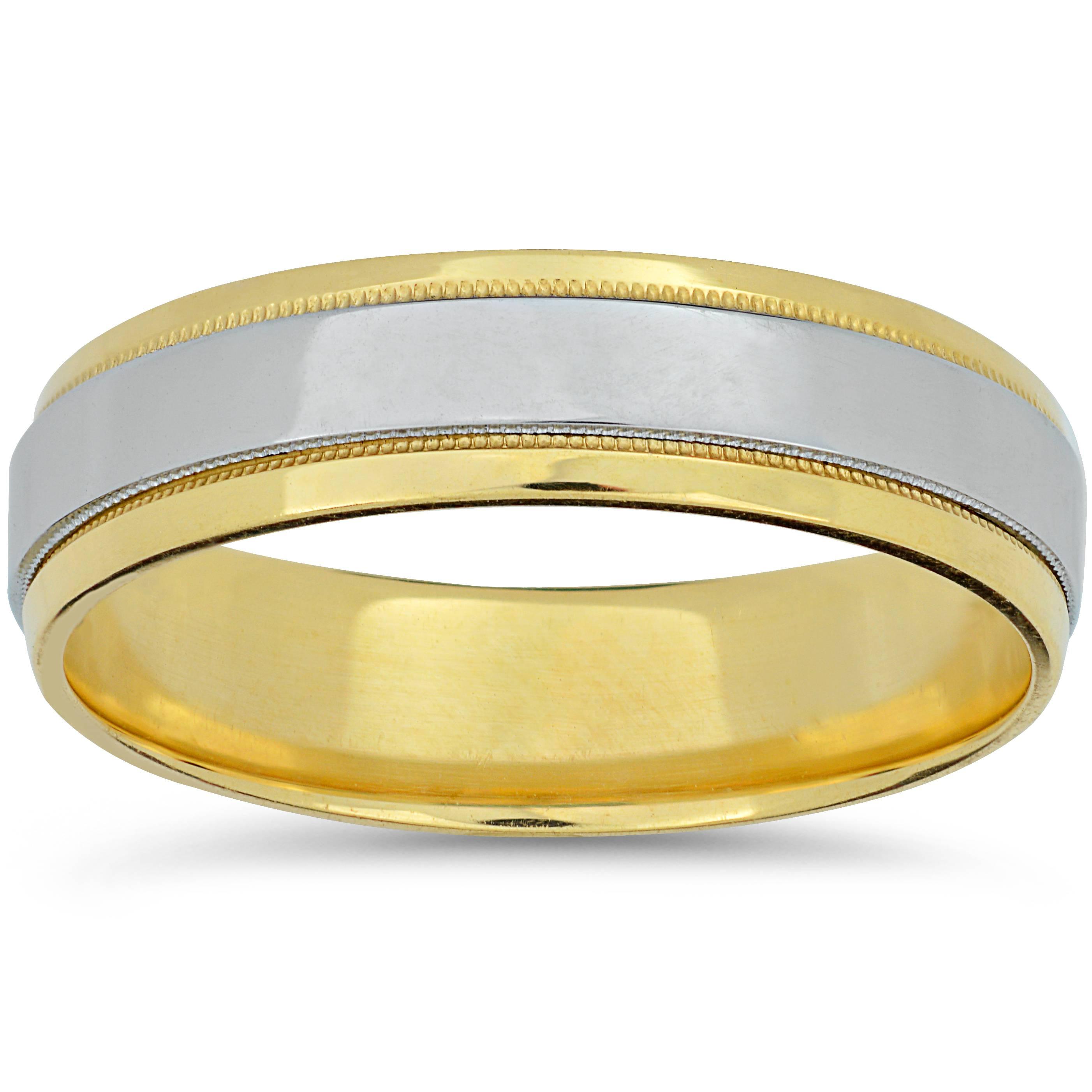 Mens Platinum & 18k Yellow Gold Two Tone Wedding Band High