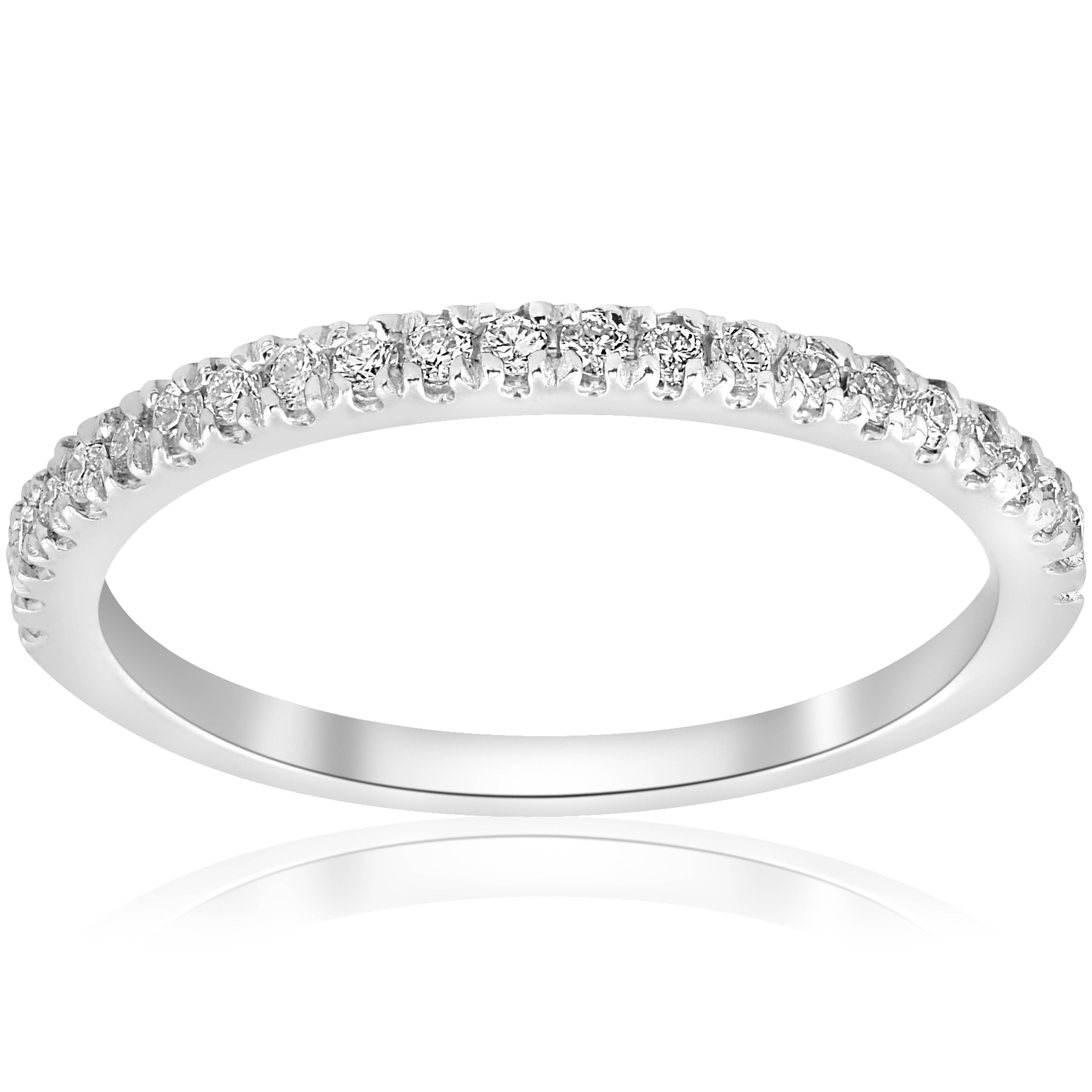 Wedding Band 10k White Gold: Stackable Band 1/5ct Diamond Wedding Band 10K White Gold