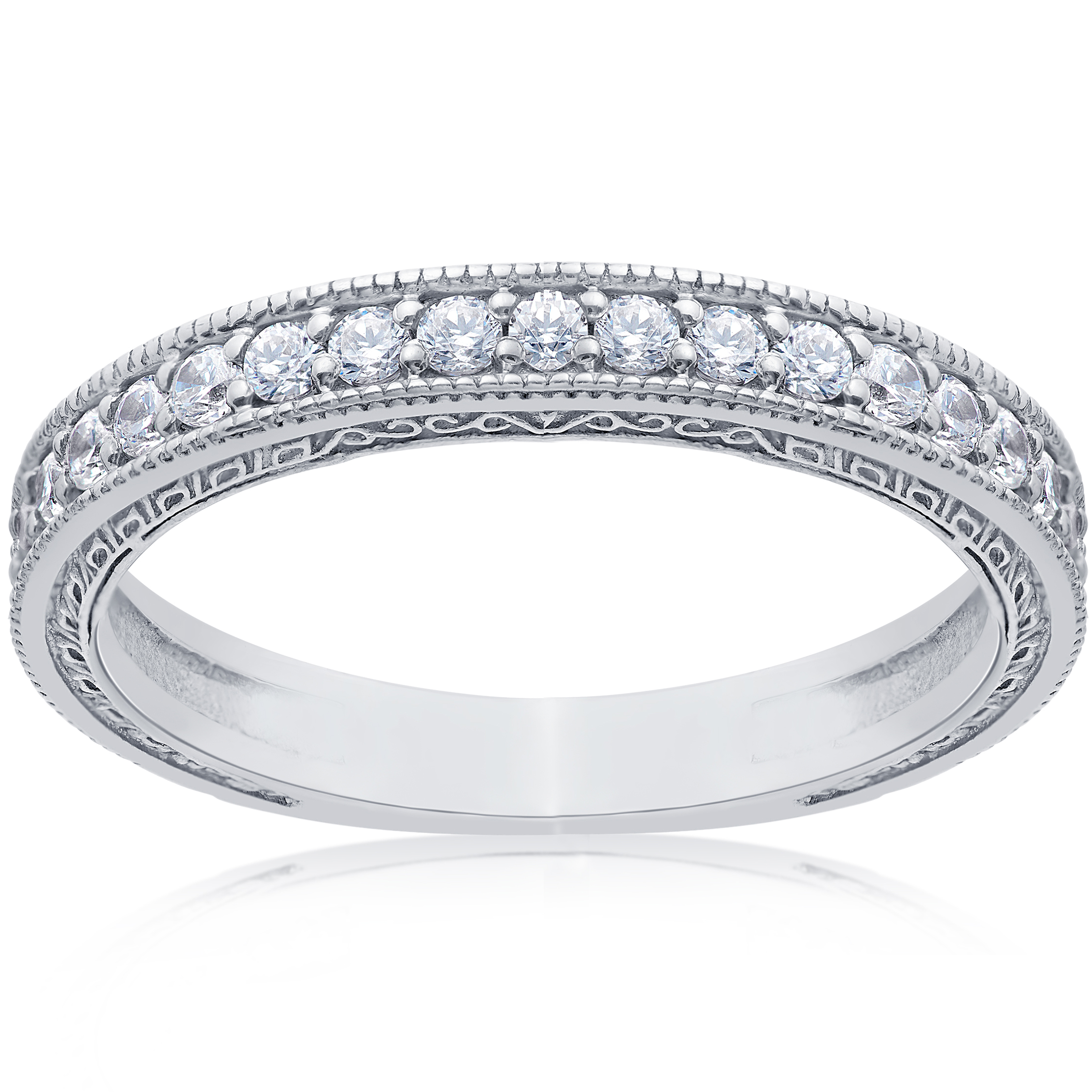 White Gold Wedding Rings For Women With Diamonds 1/2ct Vintage Diamond ...