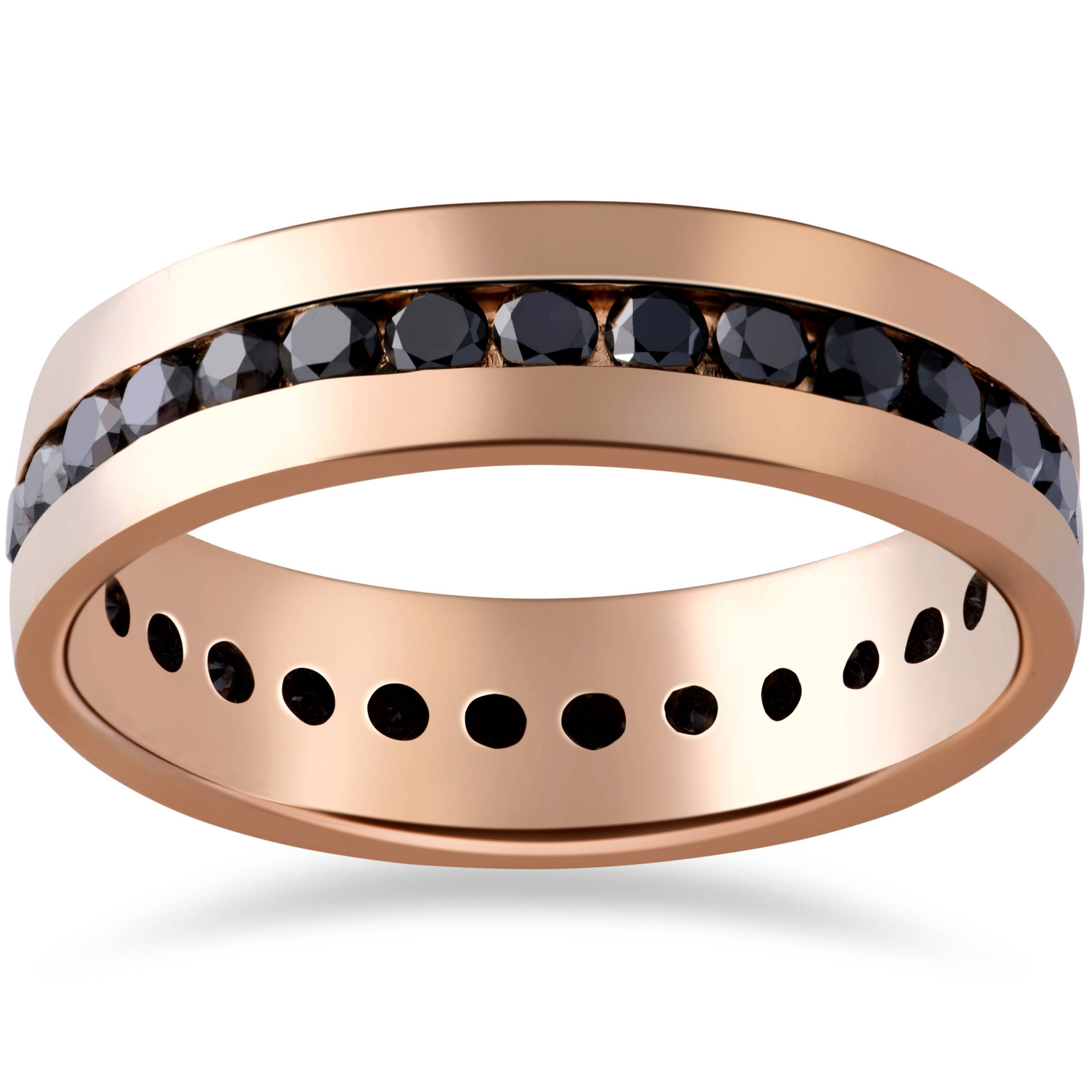1 1 4ct black diamond channel set eternity ring 14k rose gold mens wedding band ebay. Black Bedroom Furniture Sets. Home Design Ideas