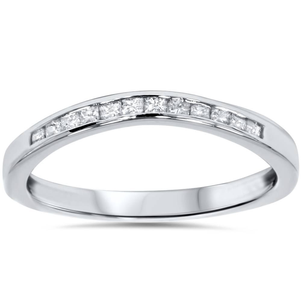 1 4ct Princess Cut Diamond Curved Guard Wedding Ring Enhancer