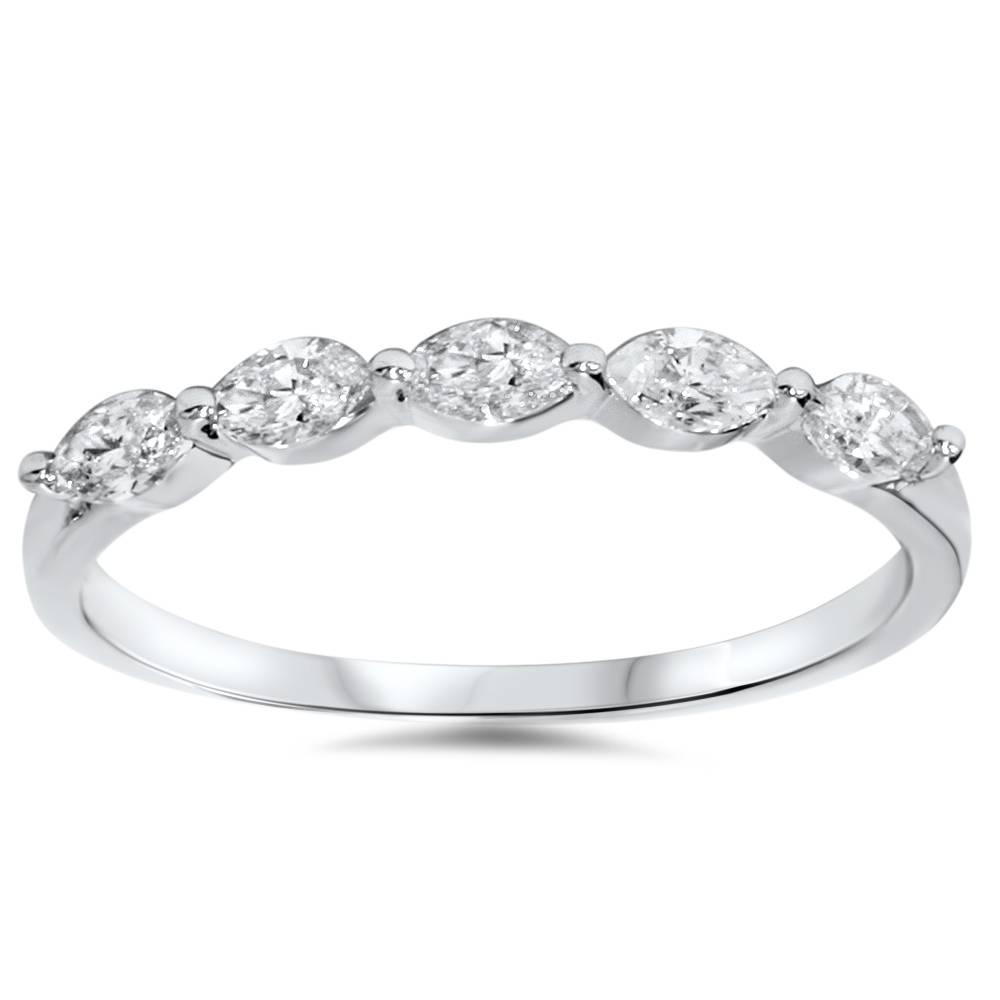 1 2ct Marquise Diamond Five Stone Wedding Ring 14k White