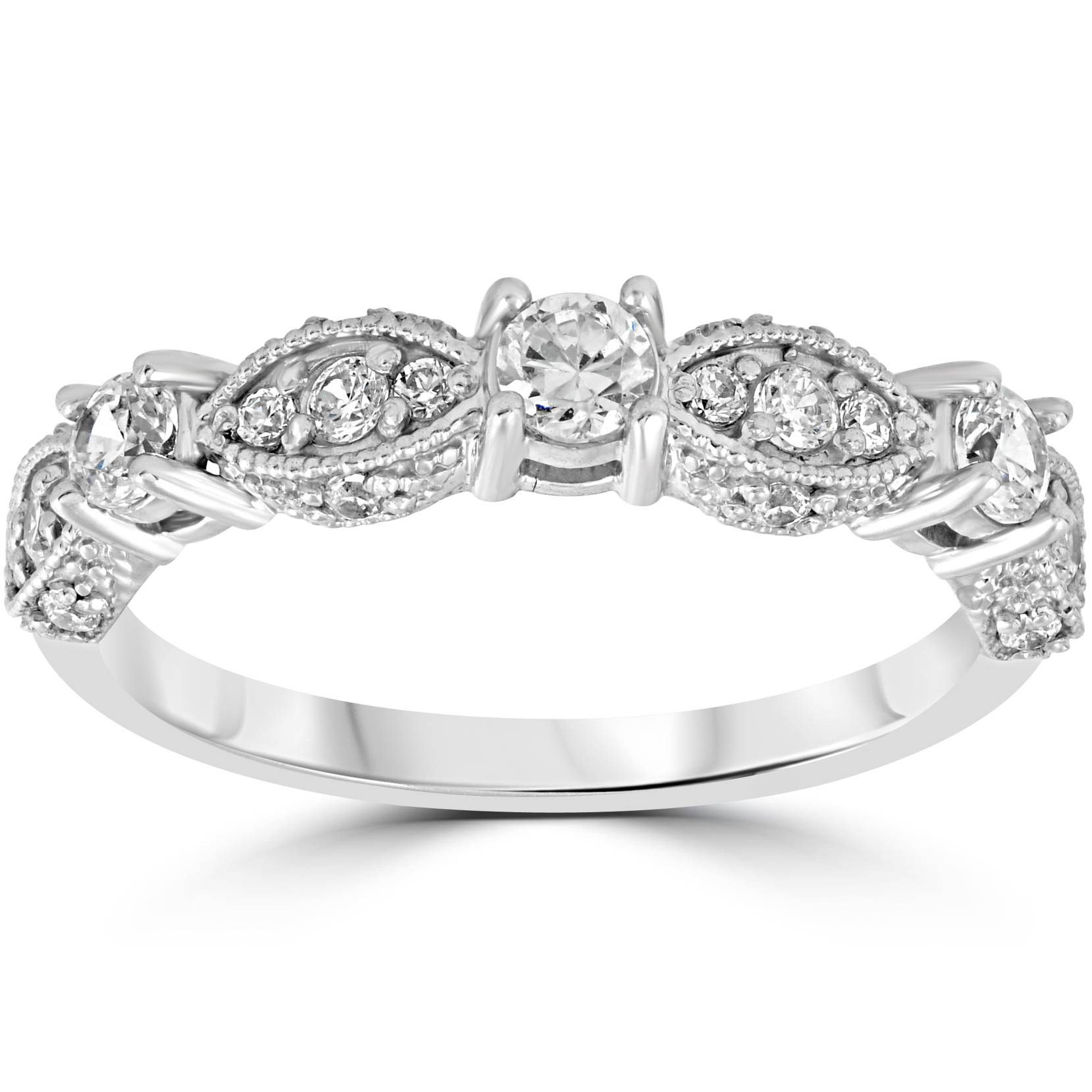 1/2ct Vintage Diamond Wedding Ring 14K White Gold Womens ...