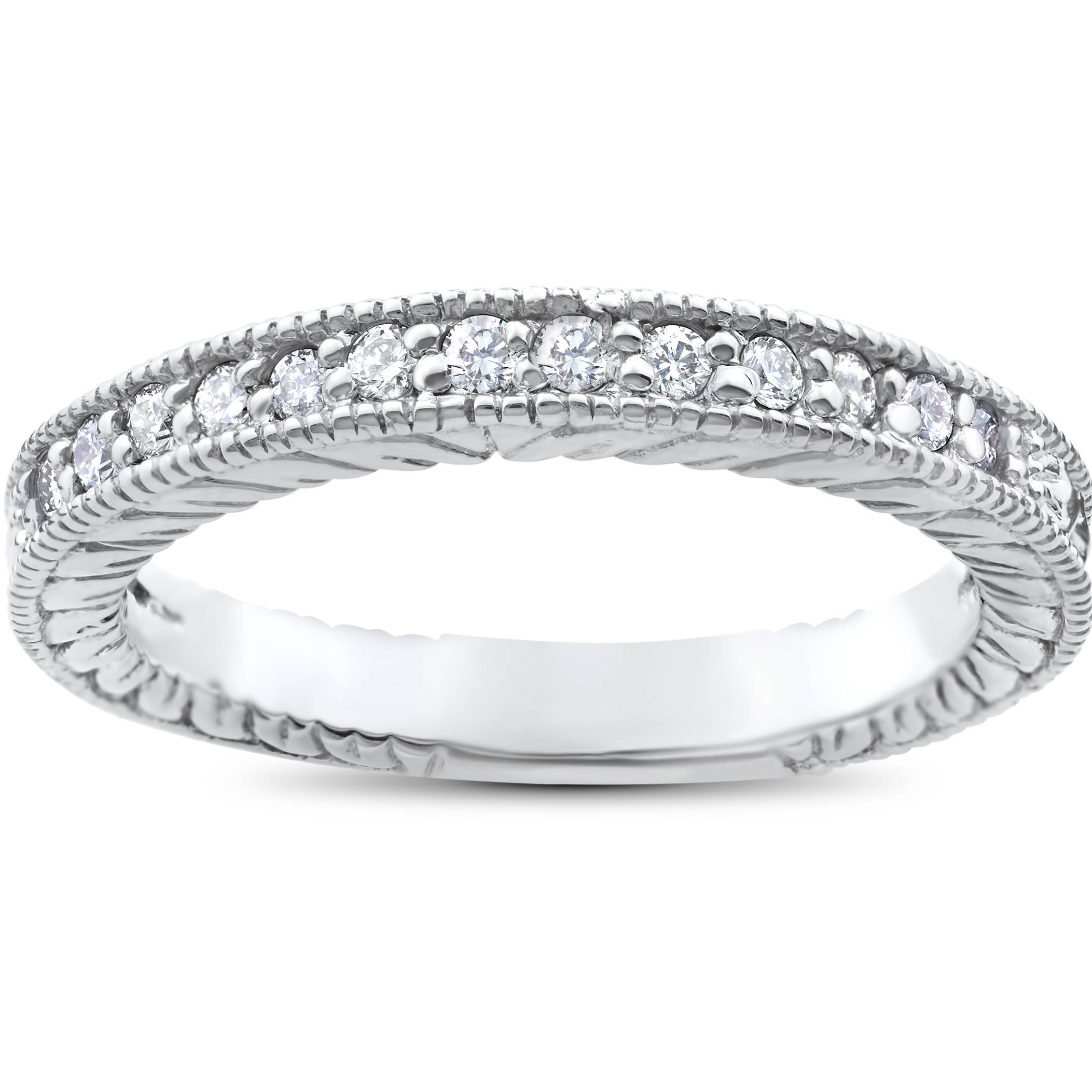 White Gold Wedding Rings For Women With Diamonds 1/5ct Heirloom Diamond...