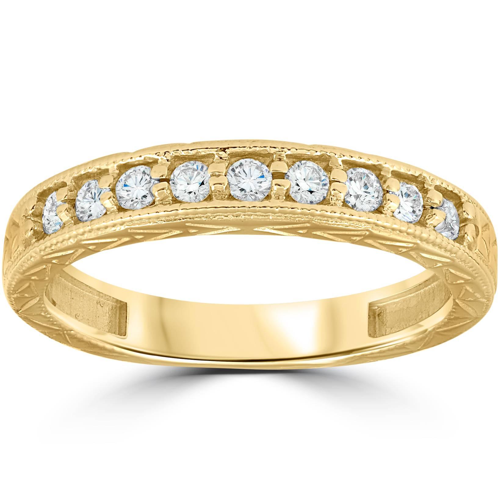 14k yellow gold 1 4ct diamond vintage anniversary wedding. Black Bedroom Furniture Sets. Home Design Ideas
