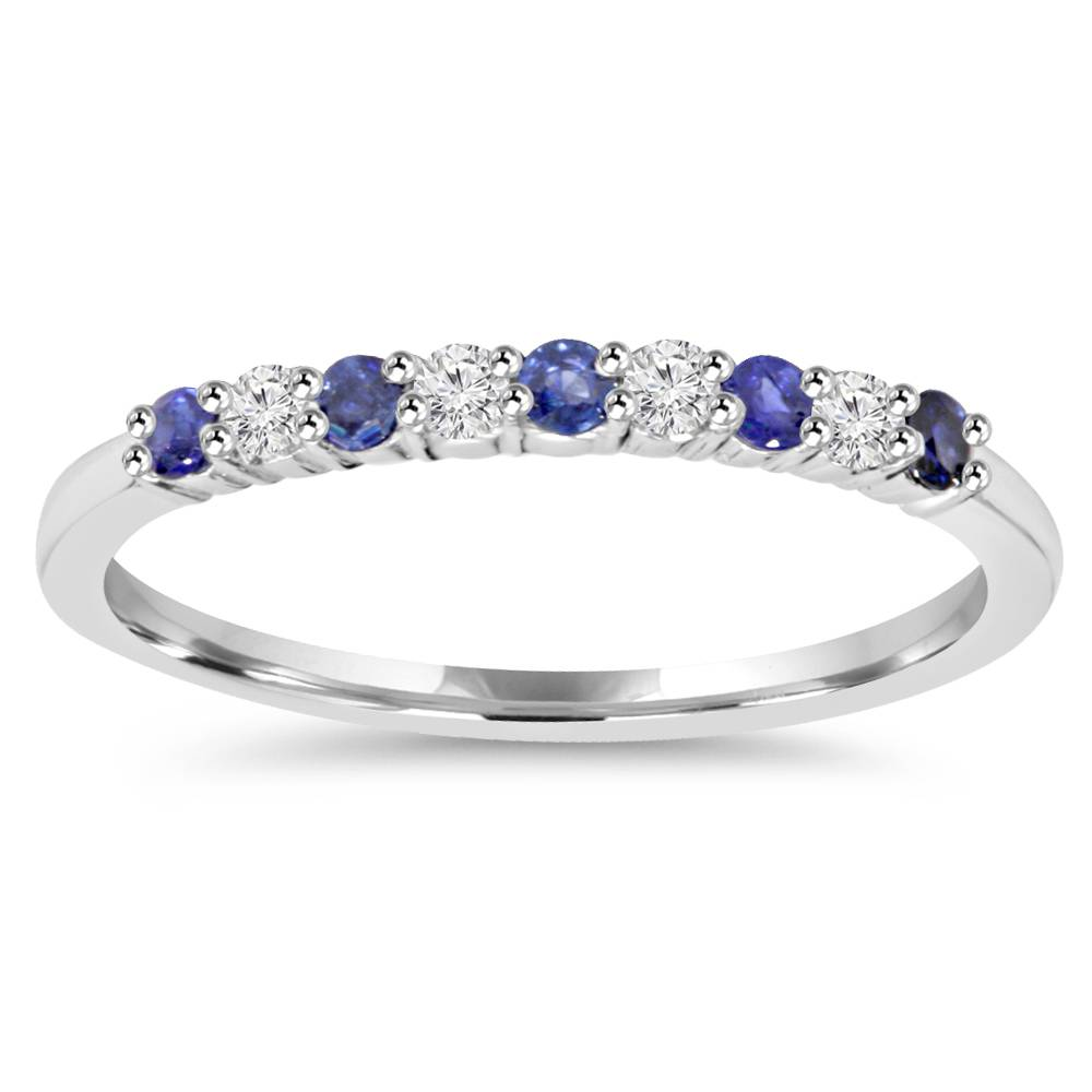 1-4Ct-Blue-Sapphire-amp-Diamond-Wedding-Ring-10K-White-Gold