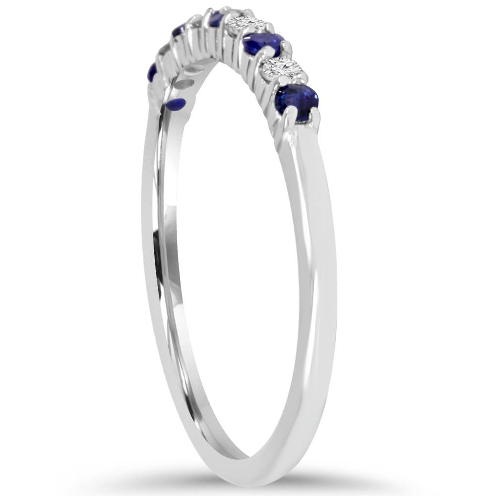 1-4Ct-Blue-Sapphire-amp-Diamond-Wedding-Ring-10K-White-Gold thumbnail 2