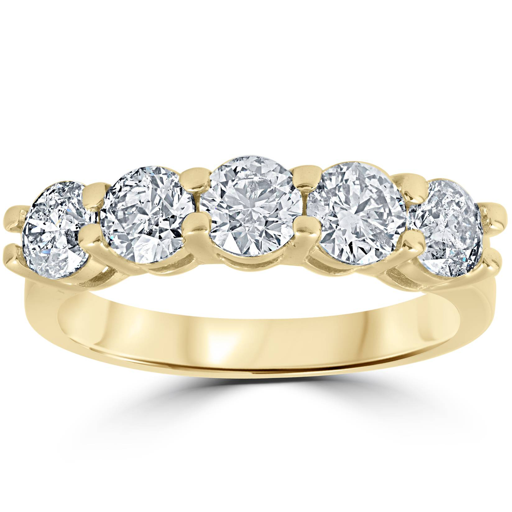 K yellow gold ct round cut diamond five stone wedding