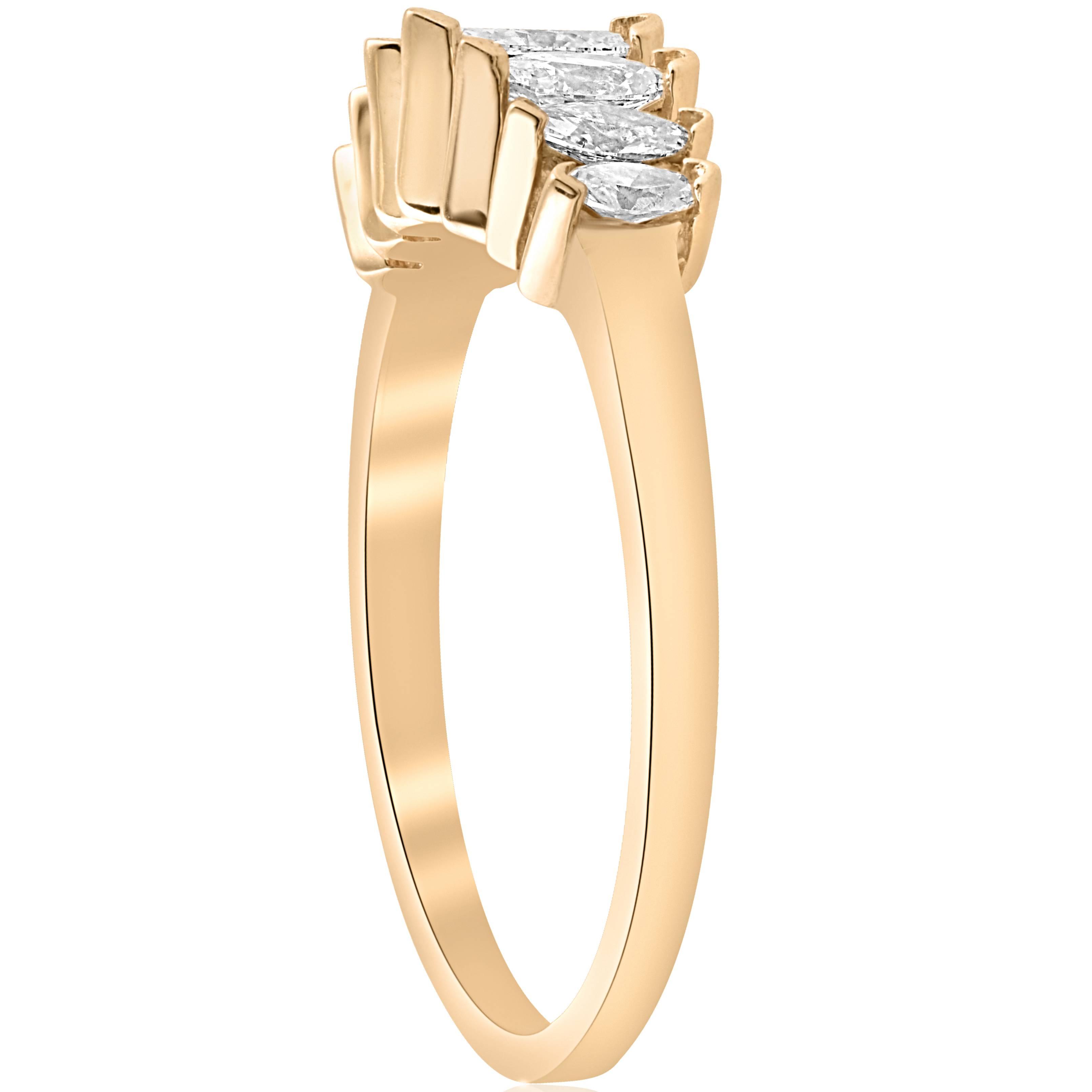 14k Yellow Gold 3 4ct Marquise Diamond Wedding Anniversary Ring Womens Band