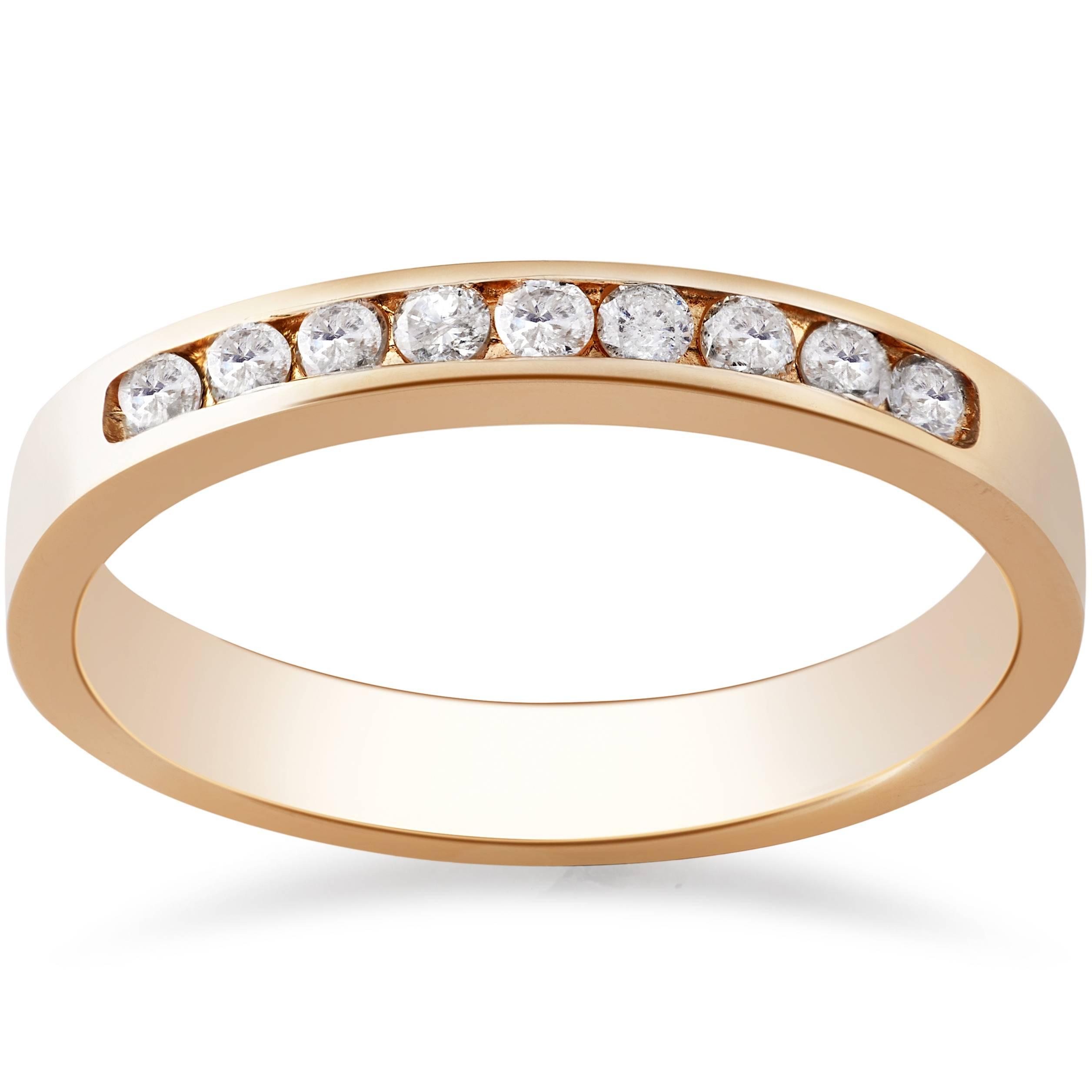 G SI 1 4ct Channel Set Lab Created Diamond Wedding Ring 14K Rose Gold