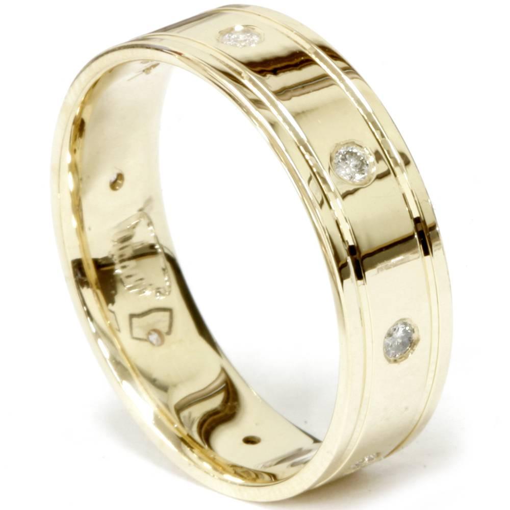 14K Yellow Gold Mens Diamond High Polished Wedding Ring 6MM