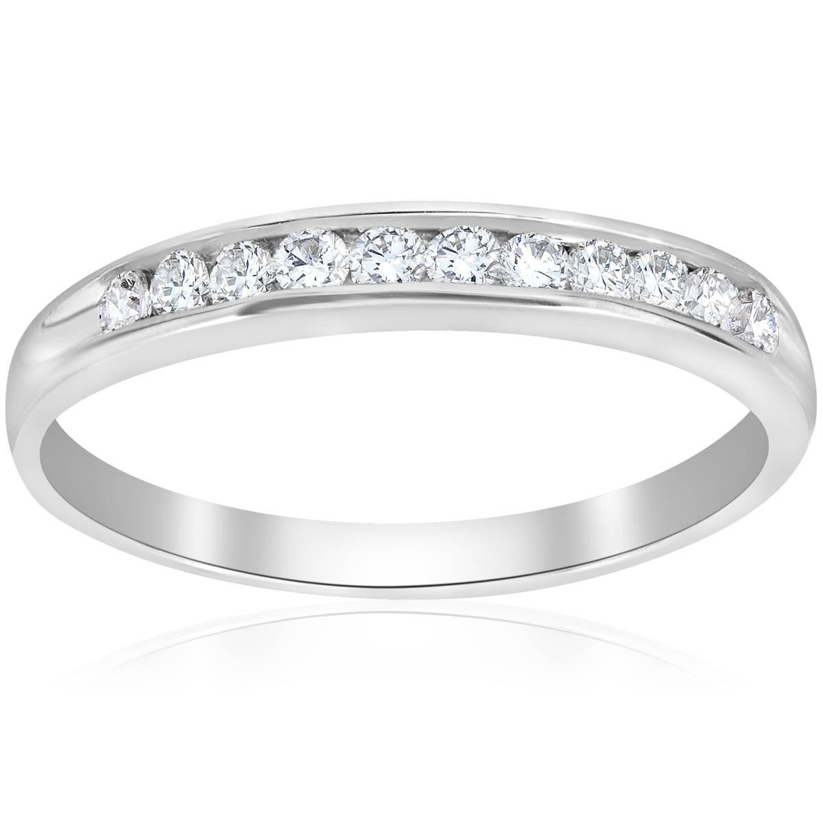 1 4ct diamond 14k white gold wedding stackable ring womens channel set band ebay. Black Bedroom Furniture Sets. Home Design Ideas